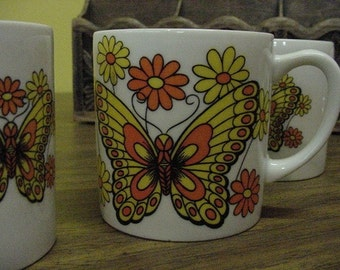 Vintage Butterfly Cups