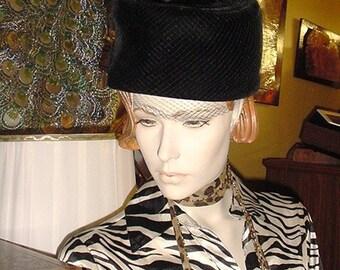 Black Velvet Pillbox Hat - US shipping included