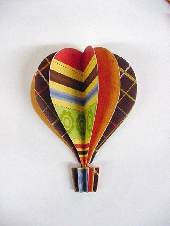 3d Hot Air Balloon Stripes Brown Green  Orange Yellow