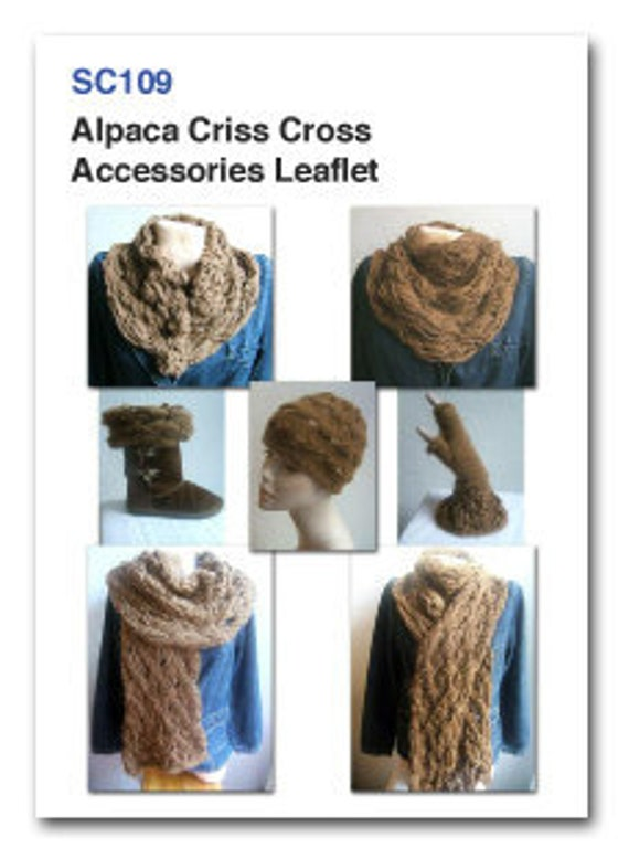 Alpaca Criss Cross Accessories Leaflet PDF knitting pattern.  See Free pattern/e book promotion in description