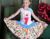 Size 4 ready to ship Ice Cream Soda Shope tank and twril skirt set