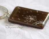 Brown Pink and White Dandelion Seed Blowing in the Wind Key Chain Key Ring Gift for Her New Spring Collection