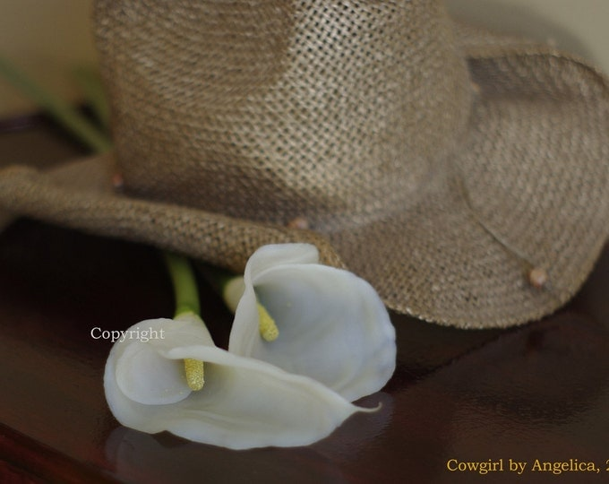 Cowgirl Cowboy Hat with Lilies Art Photography Still Life gift for her 8x10