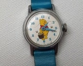 RESERVED (dhandler6) - RARE Sears Mechanical Wind-Up Winnie the Pooh Watch - Working Watch - Blue