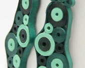 Save 30% Green Dangle Retro Circles Earrings Paper Quilled in green tones Eco Friendly Jewelry, Artisan Jewelry hypoallergenic