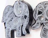 30% off SALE Elephant Earrings Eco Friendly Grey Handmade by Paper Quilling OOAK Artisan Jewelry Niobium hypoallergenic