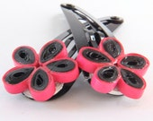 Flower Snap Hairclips Pink and Black Daisies Handmade by Paper Quilling Eco Friendly
