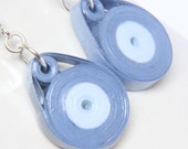 Save 30% Eco Friendly Earrings Blue Circle Dangle Handmade by Paper Quilling Artisan Jewelry hypoallergenic