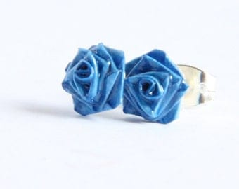 CIJ 30% off SALE Blue Rose Earrings Handmade by Paper Quilling cute small hypoallergenic titanium hypoallergenic