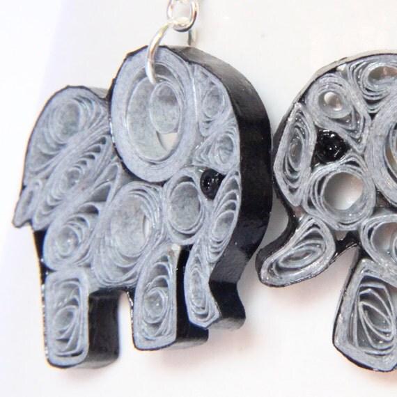 CIJ 30% off Elephant Earrings Eco Friendly Grey Handmade by Paper Quilling OOAK Artisan Jewelry Niobium hypoallergenic