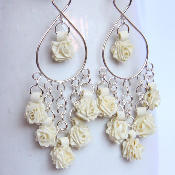 Rose Sterling Silver Chandelier Earrings Eco Wedding Tiny Ivory Roses Perfect for Bride Eco Friendly Jewelry hypoallergenic