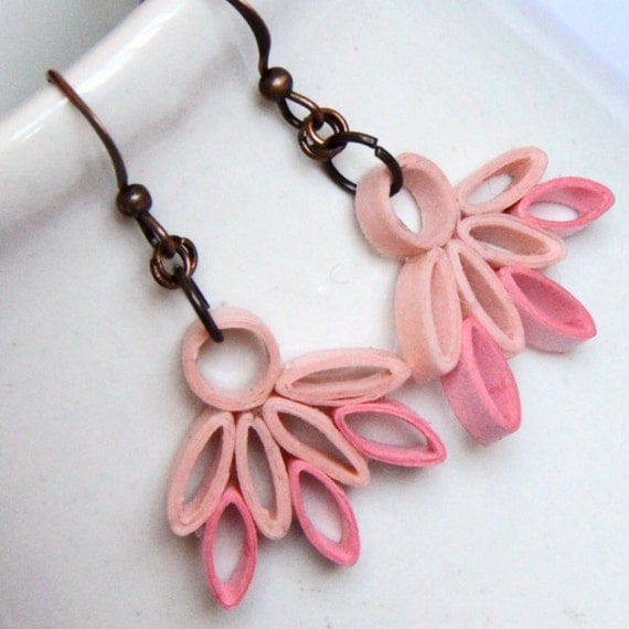 CIJ 50% OFF Pink Lotus Earrings Ballerina Earrings Unique Handmade by Paper Quilling CLEARANCE