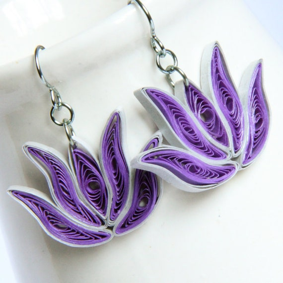 CIJ 30% off Lotus Earrings Purple and Silver Handmade Niobium Earring Bridesmaid gift Eco Friendly hypoallergenic