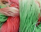 Price reduced - POISON APPLE - 75/25 Superwash wool 4 ply hand dyed knitting yarn