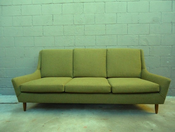 Reduced Mid Century Danish Style Green Sofa By Rustygold73 On Etsy