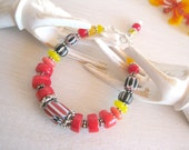 Ethnic Bracelet, African Jewelry, Ethnic Jewelry, Red Coral, African Trade Beads, Indie Jewelry
