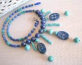 SALE Southwest Necklace, Blue Bib Necklace, Southwest Jewelry, Turquoise, Lapis, Western Jewelry