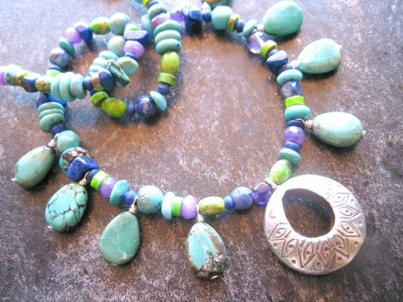 Chunky Turquoise Bead Necklace, Hill Tribe Silver, Southwest Jewelry, Ethnic Necklace, Statement Necklace