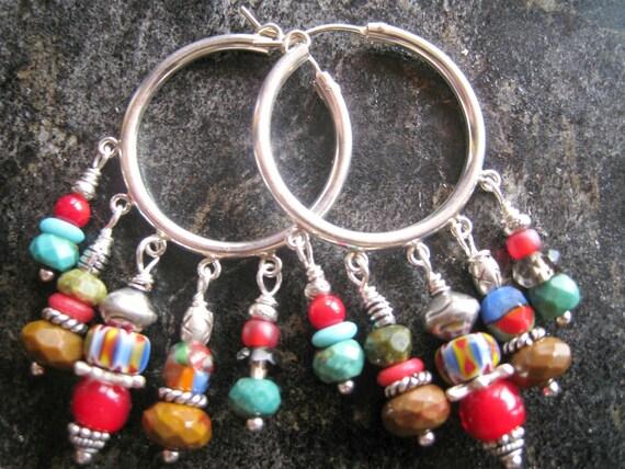 SALE Ethnic Hoops, Tribal Earrings, Sterling Hoops, Statement Earrings, African Trade Beads, Boho Earrings