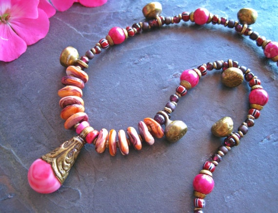 Spiny Oyster Necklace, Pink Coral Tibetan Pendant, Brass Charms, Ethnic Jewelry