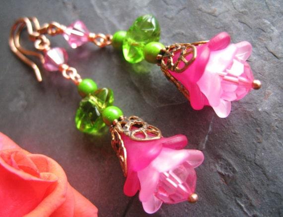 Pink Earrings, Shabby Chic Earrings, Floral Earrings, Swarovski Crystals, Romantic, Flower Jewelry