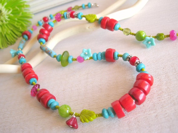 Boho Chic Jewelry, Long Boho Necklace, Lime Green, Red Coral, Turquoise, Colorful Jewelry, Eclectic Jewelry