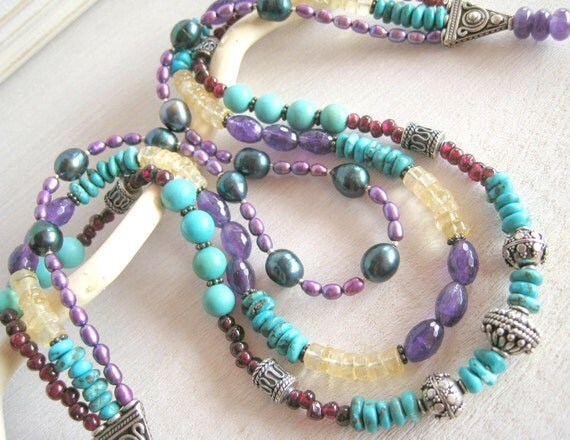 RESERVED Chunky Southwest Turquoise Necklace, Multi Strand Necklace, Amethyst, Freshwater Pearls, Citrine, Southwest Jewelry