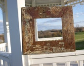 Reclaimed Rustic Painted Wood Picture frame