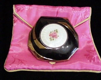 Art Deco Compact Guilloche Compact 1930s Powder Compact Elgin Compact Rouge Compact Mirror Compact Enamel Compact Vintage Compact