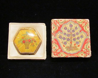 Vintage Compact 1930s Compact Houbigant Compact Hexagon Compact Antique Compact Powder Compact Rouge Compact Mirror Compact Boxed