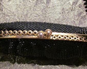 1930's Black Beaded Purse Vintage Purse Lumured Corde-Bead Handbag Art Deco Purse