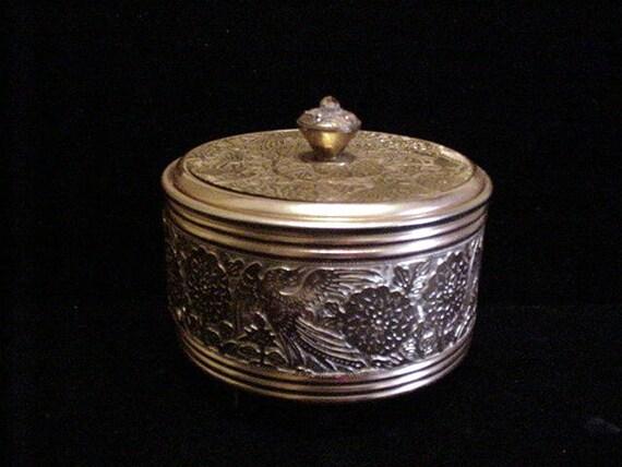 1940's Powder Box Vintage Powder Jar Gold Powder Box Birds Musical Powder Box