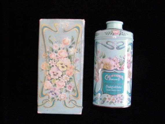 Vintage Avon Tin Vintage Powder Tin 1977 California Perfume Co. Talcum Power FULL & UNUSED