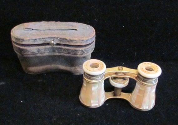 1800's Opera Glasses, Paris France, Marchand, Antique, Original Case