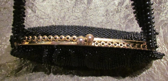 1930's Black Beaded Purse Vintage Purse Lumured Corde-Bead Handbag Art Deco Purse