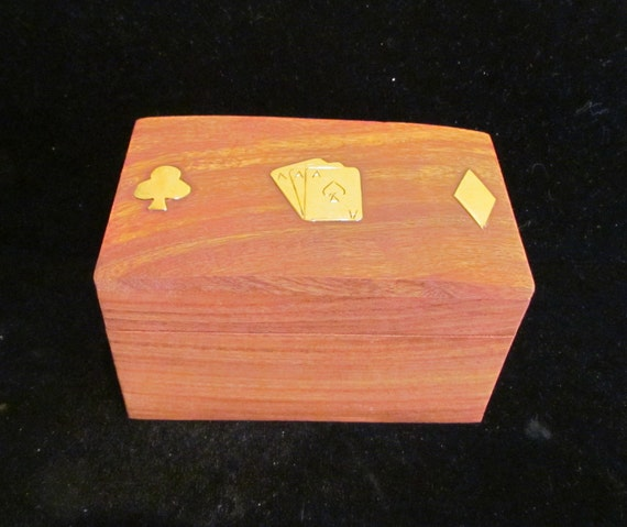 Vintage Box 1980s Wooden Box Cards Box Playing Cards Toys Card Games