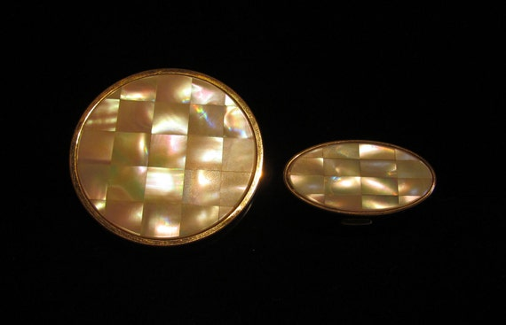 1950's Mother Of Pearl Compacts Powder Compact Lipstick Case Max Factor Compacts Vintage Compact Matching Compacts MOP Compact Set