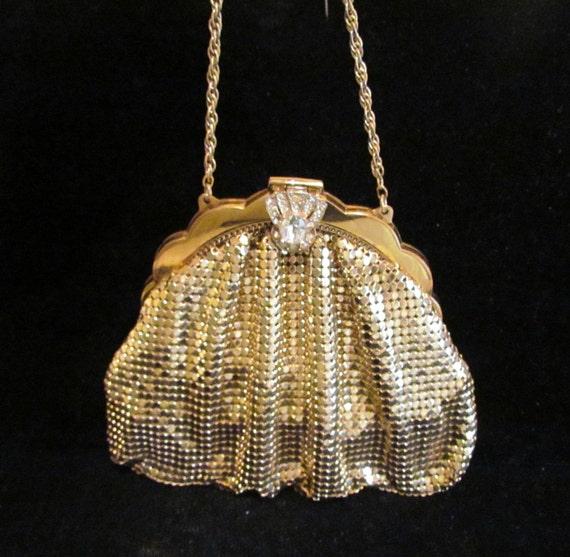Vintage Purse Whiting And Davis Gold Mesh Purse Rhinestone Purse 1930's Purse Art Deco Purse Wedding Purse