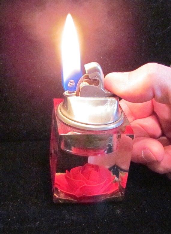 Lucite Table Lighter Vintage Lighter Evans Lighter Cigarette Lighter Tabletop Lighter 1950s Evans Lucite Lighter Red Rose Lighter
