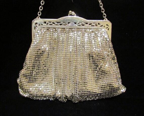 1940's Purse Whiting And Davis Purse Mesh Purse Silver Purse Art Deco Purse Vintage Purse Wedding Purse Bridal Bag Evening Bag