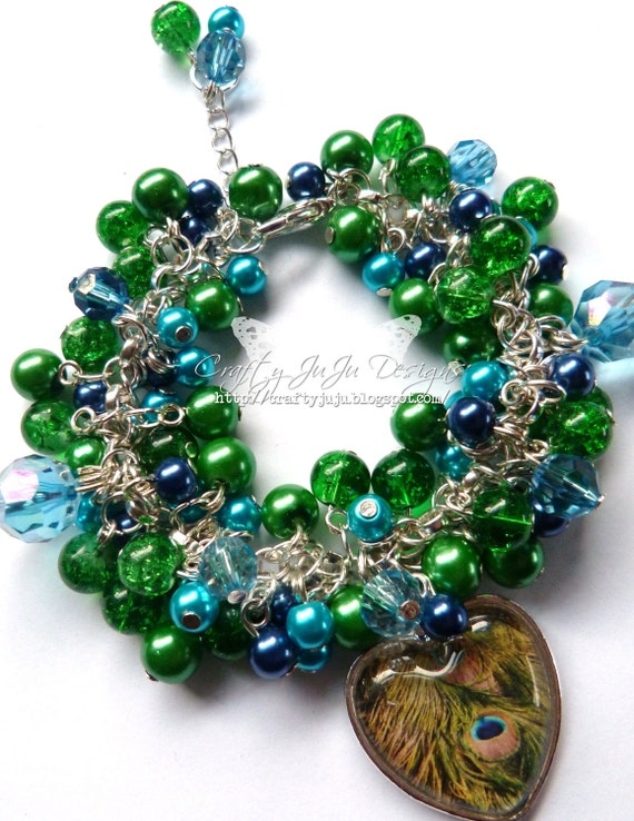Peacock Love Glass Tile Beaded Bracelet