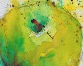 Original Painting Yellow Green Apple Fruit Watercolour Ink Still Life Art