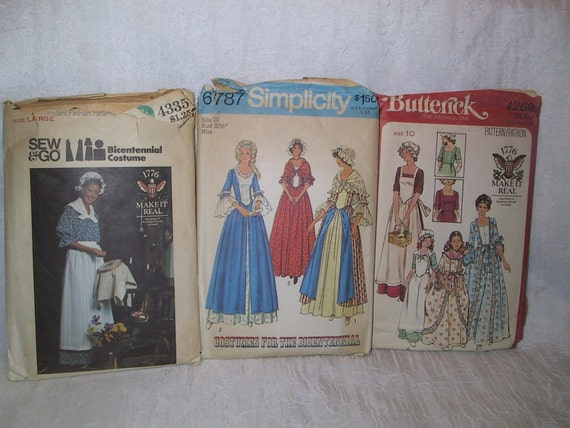 Three 1970s Bicentennial patterns for colonial clothes outfits