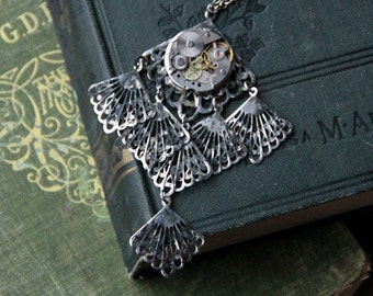 Steampunk necklace - Dark Romance - ooak vampire Gothic Victorian metal lace vintage clockwork eternal love assemblage bride wedding pendant