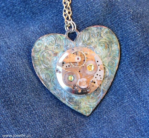 Steampunk Necklace - Mechanical Heart - victorian gothic clockwork heart pendant in aqua blue green patina, swarovski crystals. Summer Sale.