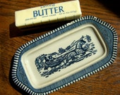 Butter Dish Tray with Blue Sleigh Ride Scene - WINTER Currier Ives Royal China