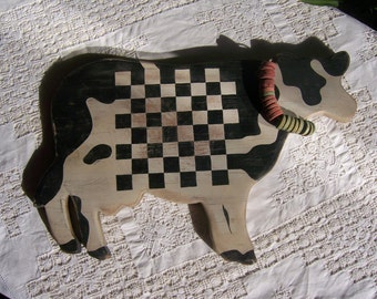 Board game checkers folk art Holstein cow, black white blue red wood pieces, country, cottage-chic, resort gift idea for children men women.