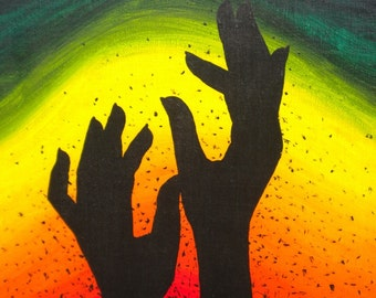 Resurrection, original art painting of hands silhouette, colorful red orange yellow green blue purple pink green black acrylic canvas.