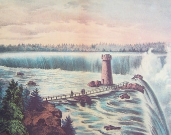 Niagara Falls from Goat Island Currier and Ives art print from calendar to frame for traditional, nautical, cottage chic home decor or gift.