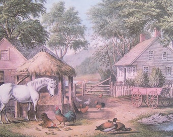 Currier and Ives art print, A Glimpse of the Homestead. Gift idea for men or women. Home decor, reminder of pioneers.